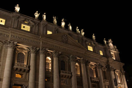 nite: The front of St. Peters Basilica, in Vatican city at night.  Editorial