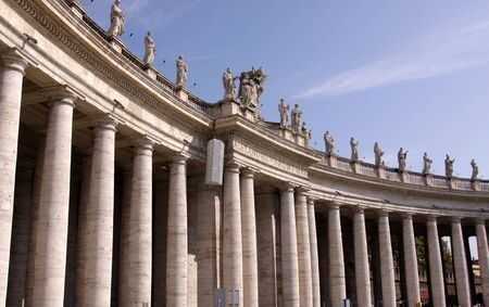 A colonnade in Saint Peters Square, in Vatican City, photo