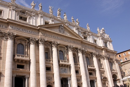 The front of St. Peters Basilica, in Vatican city.