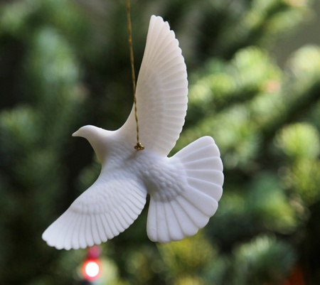 turtle dove: A Turtle Dove Christmas Ornament hanging from a christams tree.