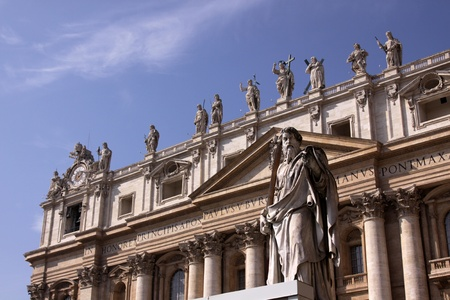 A statue of St. Paul outside St. Peters Basilica, Vatican City, Rome.