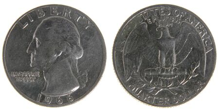 both sides: Both sides of an old (1966) US quarter, isolated on a white background.