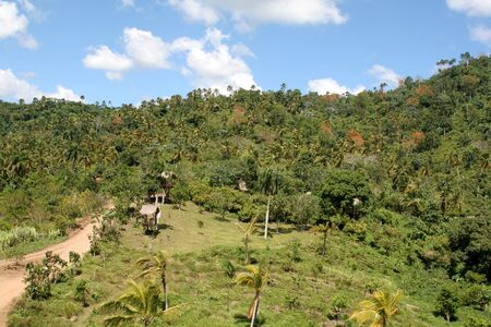 The lush rolling hills landscape of the countryside near Punta Cana, Dominican Republic. Banco de Imagens