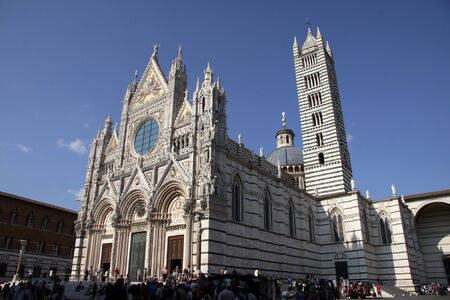 The magnificant cathedral of Siena (Duomo di Siena), shot in Siena, Italy.  The cathedral was constructed between 1215 and 1263. Stock Photo - 12231836