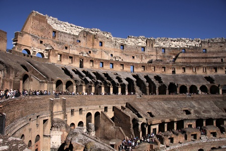 The interior of the Colosseum in Rome, Italy.  It was completed in 80 AD by the Emperors Vespasian and Titus. Stock Photo - 12971684