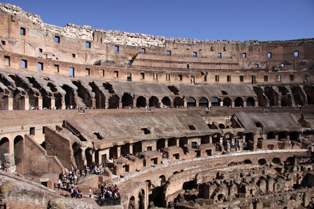 The interior of the Colosseum in Rome, Italy.  It was completed in 80 AD by the Emperors Vespasian and Titus.