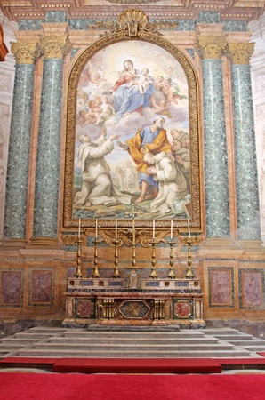 An Altar in Basilica of St. Mary of the Angels and the Martyrs, in Rome, Italy.