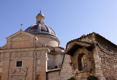 st  francis: The Chiesa Nuova is a church in Assisi, Italy.  It is built on birthplace of St. Francis in 1615. Stock Photo