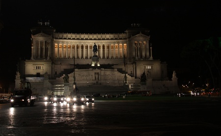 emmanuel: The National Monument to Victor Emmanuel II shot at night in Rome, Italy Stock Photo
