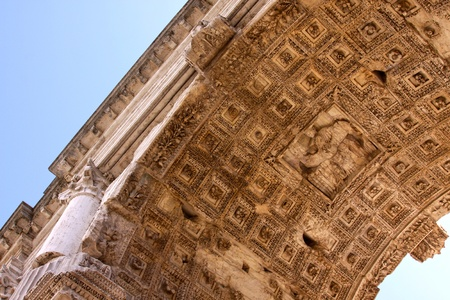 The soffit of the Arch of Titus, in Rome, Italy.  The arch was completed in 80 AD, to commemorate Titus' conquests. Stock Photo - 13135178