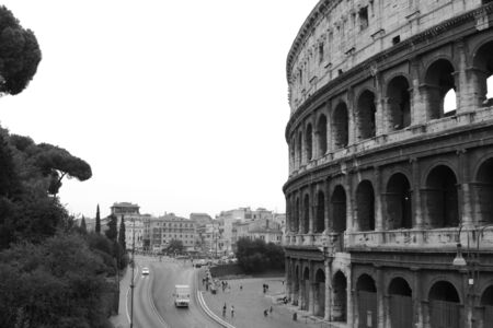 The Colosseum in Rome, Italy.  Built completed in 80 AD.  It was built by the Emperors Vespasian and Titus.