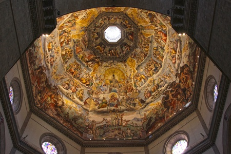 The Ceiling of the Duomo in Florence, Italy   Featuring numerous Frescos  新闻类图片