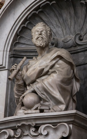 Galileo's tomb in the Basilica of Santa Croce, in Florence, Italy.