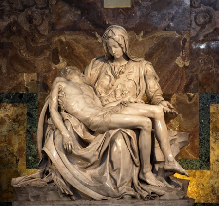 The Pietà (1498-1499) by Michangelo Buonarroti, housed in St. Peter's Basilica, Vatican.