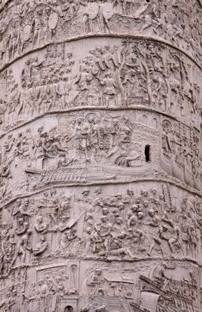 Details of Trajans column in Rome, Italy.  It was completed in 113 AD to honour the Roman Emporer Trajan.