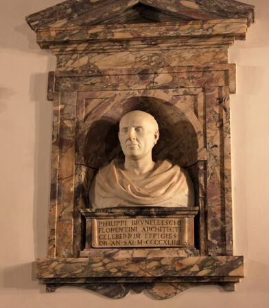 A bust of Filippo Brunelleschi, the Renaissance architectengineer who designed the Duomo in Florence. Editorial