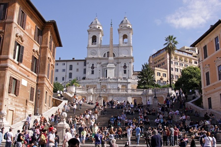 monti: The Spanish Steps in Rome, Italy.  The church at the top is Trinità dei Monti.