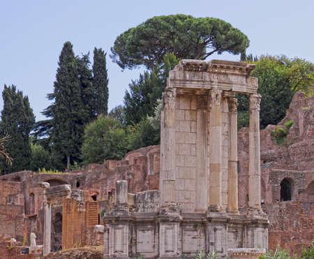 the Temple of Vesta in Roman Forum, in Rome, Italy.