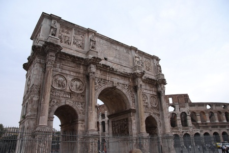 The Arch of Constantine of in Rome, Italy.  It commemerates Constantine's victory over Maxentius in the battle of Milvian bridge. Stock Photo - 13562576