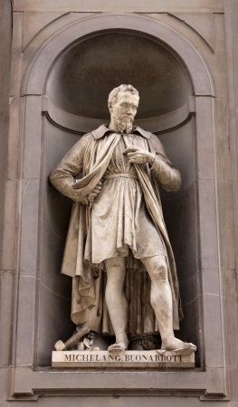 sculptor: A statue of Michelangelo (Michelangelo di Lodovico Buonarroti Simoni) sitting outside of the Uffizi, in Florence, Italy.  Michelangelo was a  sculptor, painter, architect, poet, and engineer  during the Italian Renaissance.