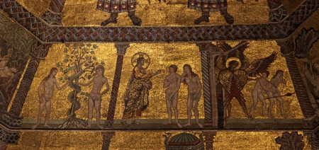 garden of eden: The Adam and Eve story from the fantastic ceiling mosaic in the Baptistry of Florence, Italy.