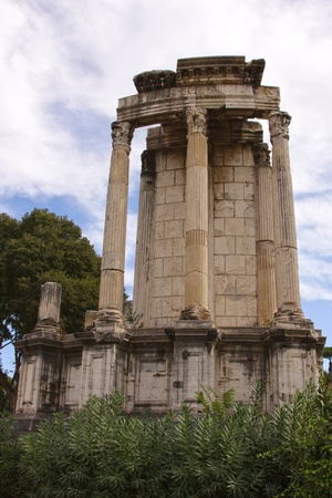 A shot of the Temple of Vesta in Roman Forum, in Rome, Italy.