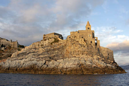 The Church of St. Peter (San Pietro) sitting on the cliff in Portovenere, Liguria, Italy.