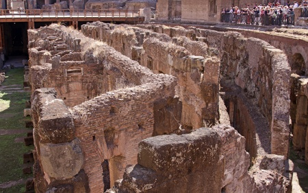 The bottom of the interior of the Colosseum in Rome, Italy.  It was completed in 80 AD by the Emperors Vespasian and Titus. Stock Photo - 13803310