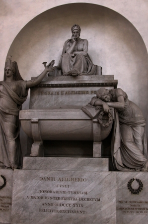 dante alighieri: The cenotaph of Dante Alighieri, in the Basilica of Santa Croce, in Florence, Italy.  His tomb is actually in Ravenna.