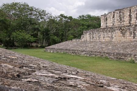 mesoamerica: The Ballcourt in the Mayan ruins of Ek Balam.   The name Ek Balam means Black Jaguar. It is located in the Yucatan Peninsula, Mexico.  Stock Photo