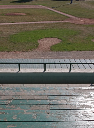unoccupied: An unoccupied baseball field, shot from the bleachers.