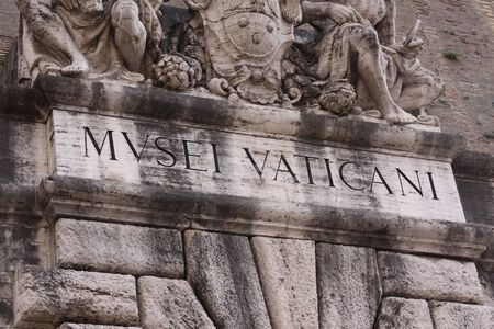 The lettering above the entrance to the Vatican Museums, in Rome, Italy.