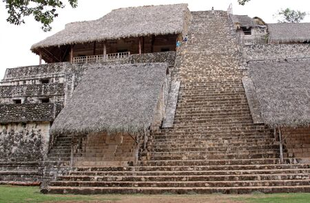 The Acropolis in the Mayan ruins of Ek' Balam.  It is the largest structure at the site.  The name Ek' Balam means 'Black Jaguar'. It is located in the Yucatan Peninsula, Mexico.