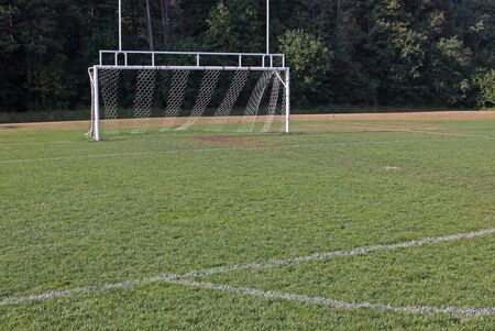 goalline: A view of the goal on a vacant soccer pitch.