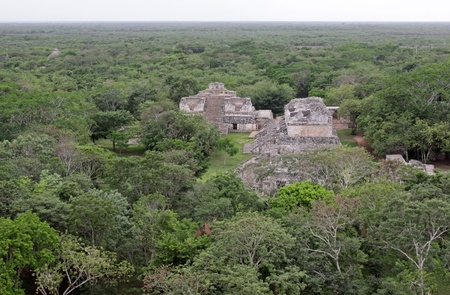 The Oval Palace and The Twins shot from the top of the Acropolis in the Mayan ruins of Ek Balam photo