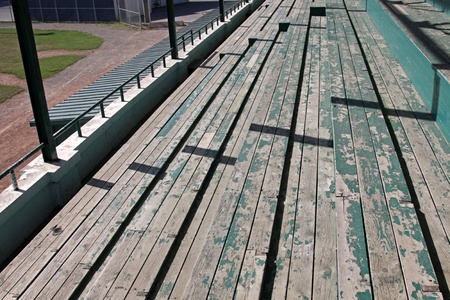 Wooden bleachers at a baseball field. photo