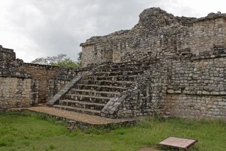 mesoamerica: One of The Twins in the Mayan ruins of Ek Balam.  The name Ek Balam means Black Jaguar. It is located in the Yucatan Peninsula, Mexico.  Stock Photo