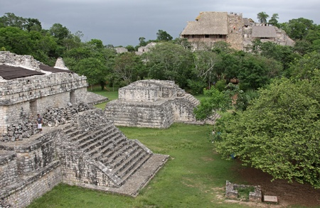 The Acropolis and several other structures in the Mayan ruins of Ek Balam.  It is the largest structure at the site.  The name Ek Balam means Black Jaguar. It is located in the Yucatan Peninsula, Mexico.