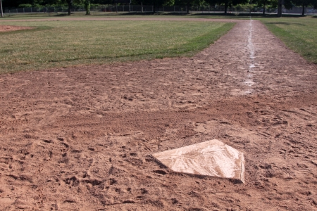 baseball diamond: A view down the right field line of a baseball field shot from home plate.