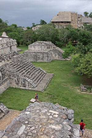 riviera maya: The Acropolis and several other structures in the Mayan ruins of Ek Balam.  It is the largest structure at the site.  The name Ek Balam means Black Jaguar. It is located in the Yucatan Peninsula, Mexico.  Stock Photo