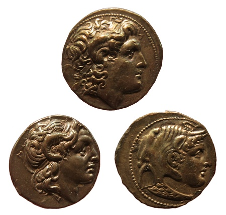 depictions: Ancient coins depicting Alexander the Great. (Alexander III of Macedon 336-323 bc)