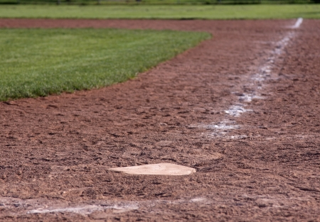 A shot of home plate (with just in it focus) on an empty baseball field. photo