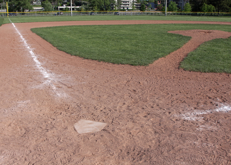 diamond plate: A shot of an unoccupied baseball field. Stock Photo