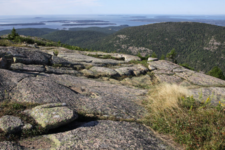 The view from on top of Cadillac Mountain.  Located on Mount Desert Island  Stock Photo