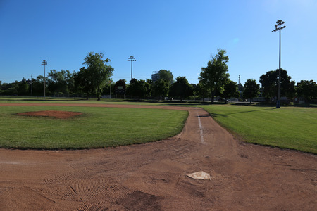 A wide-angle shot of an unoccupied baseball field.  photo