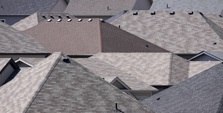 The roofs of many houses in a subdivision.