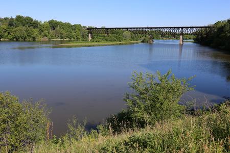 southwestern: The Grand River and the railway bridge running through Galt (Cambridge), Ontario, Canada.