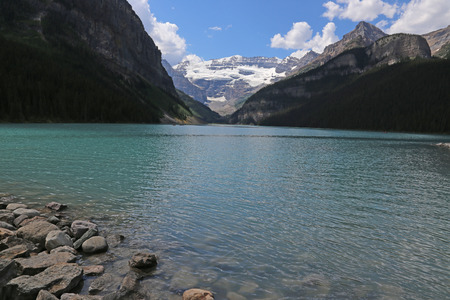 banff national park: Beautiful Lake Louise, located in Banff National Park, Alberta, Canada.  Stock Photo