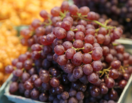Fresh grapes being sold at a market