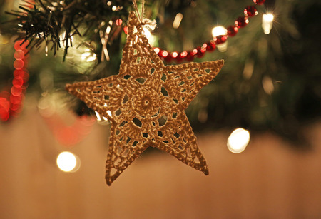 star ornament: A felt Christmas star ornament hanging from a lit Christmas tree.